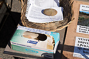 payment box at a food and information stand during Covid 19 crisis and lockdown France Limoux April 2020