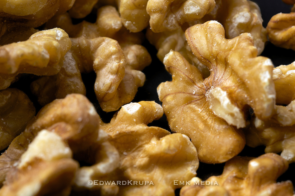 Close up of walnuts, shell removed.