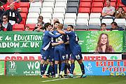 Birmingham City midfielder, Jon Toral (20) celebrating scoring 0-1 during the Sky Bet Championship match between Charlton Athletic and Birmingham City at The Valley, London, England on 2 April 2016. Photo by Matthew Redman.