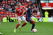 Sam Mantom and Cameron Stewart battle for the ball during the Sky Bet League 1 match between Walsall and Doncaster Rovers at the Banks's Stadium, Walsall, England on 12 September 2015. Photo by Alan Franklin.