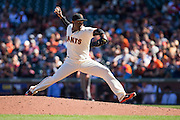San Francisco Giants relief pitcher Santiago Casilla (46) works the mound against the Arizona Diamondbacks at AT&T Park in San Francisco, Calif., on August 31, 2016. (Stan Olszewski/Special to S.F. Examiner)