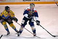 Ishockey , Get - ligaen <br /> 10.02.09 <br /> Hamar OL-Amfi<br /> Storhamar  Dragons  v Sparta Sarpsborg  0-1<br /> <br /> Foto:Dagfinn Limoseth  -  Digitalsport<br /> Henrik Malmström, Sparta og Teddy Midttun , Storhamar