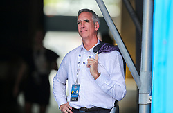 Sep 1, 2018; Charlotte, NC, USA; CEO and Commissioner of the XFL and former West Virginia Mountaineers athletic director Oliver Luck stands in a tunnel and watches the game during the first quarter at Bank of America Stadium. Mandatory Credit: Ben Queen-USA TODAY Sports