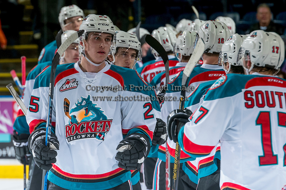 KELOWNA, CANADA - DECEMBER 27: Cal Foote #25 of the Kelowna Rockets celebrates the win against the Kamloops Blazers on December 27, 2016 at Prospera Place in Kelowna, British Columbia, Canada.  (Photo by Marissa Baecker/Shoot the Breeze)  *** Local Caption ***