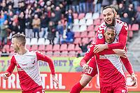 UTRECHT - FC Utrecht - Feyenoord , Voetbal , Seizoen 2015/2016 , Eredivisie , Stadion de Galgenwaard  , 28-02-2016, FC Utrecht speler Nacer Barazite (l) feliciteert doelpuntenmaker FC Utrecht speler Sébastien Haller (r)