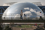 France. Paris Parc de la vilette in the 19th district . Geode  cite des sciences garden  / Geode parc de la Vilette