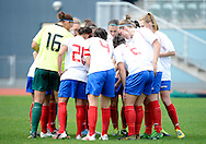 Auckland Football regroup, prior to the ASB women's league match between Football South and Auckland Football, at the Caledonian Ground, Dunedin, New Zealand,  20 October 2013. Credit: Joe Allison / allisonimages.co.nz