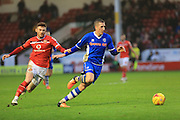 Jordan Cook, Jim McNulty during the Sky Bet League 1 match between Walsall and Rochdale at the Banks's Stadium, Walsall, England on 2 January 2016. Photo by Daniel Youngs.