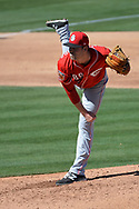 MESA, AZ - MARCH 09:  Kevin Shackelford #89 of the Cincinnati Reds delivers a pitch in the second inning against the Oakland Athletics in the spring training game at HoHoKam Stadium on March 9, 2017 in Mesa, Arizona.  (Photo by Jennifer Stewart/Getty Images)