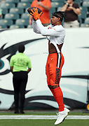 Cleveland Browns wide receiver Terrelle Pryor, Sr. (11) jumps and catches a pass while warming up before the 2016 NFL week 1 regular season football game against the Philadelphia Eagles on Sunday, Sept. 11, 2016 in Philadelphia. The Eagles won the game 29-10. (©Paul Anthony Spinelli)