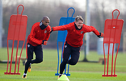 MANCHESTER, ENGLAND - Wednesday, March 16, 2016: Manchester United's Ashley Young and Bastian Schweinsteiger during a training session at Carrington Training Ground ahead of the UEFA Europa League Round of 16 2nd Leg match against Liverpool. (Pic by David Rawcliffe/Propaganda)