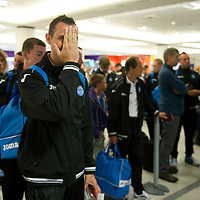 St Johnstone v Eskisehirspor....18.07.12  Uefa Cup Qualifyer<br /> David McCracken clowning around during the queue for check-in at Edinburgh Airport<br /> Picture by Graeme Hart.<br /> Copyright Perthshire Picture Agency<br /> Tel: 01738 623350  Mobile: 07990 594431