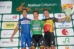 July 31, 2018 - Roeselare, BELGIUM - Dutch Niki Terpstra of Quick-Step Floors, Slovakian Peter Sagan of Bora-Hansgrohe and Belgian Yves Lampaert of Quick-Step Floors celebrate on the podium after the 'Natourcriterium Roeselare' cycling event, Tuesday 31 July 2018 in Roeselare. The contest is a part of the traditional 'criteriums', local races in which mainly cyclists who rode the Tour de France compete. BELGA PHOTO KURT DESPLENTER (Credit Image: © Kurt Desplenter/Belga via ZUMA Press)