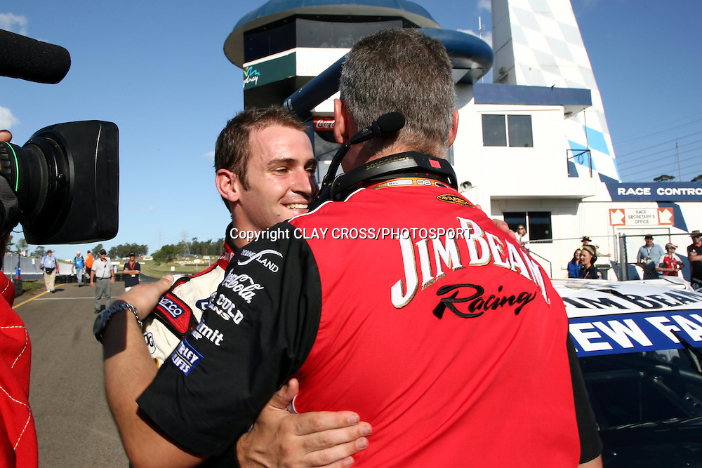 Will Davison of Jim Beam Racing with his team manager after winning the V8 Supercar race at Eastern Creek Raceway, Western Sydney on Sunday 9th March 2008. Photo: Clay Cross/PHOTOSPORT