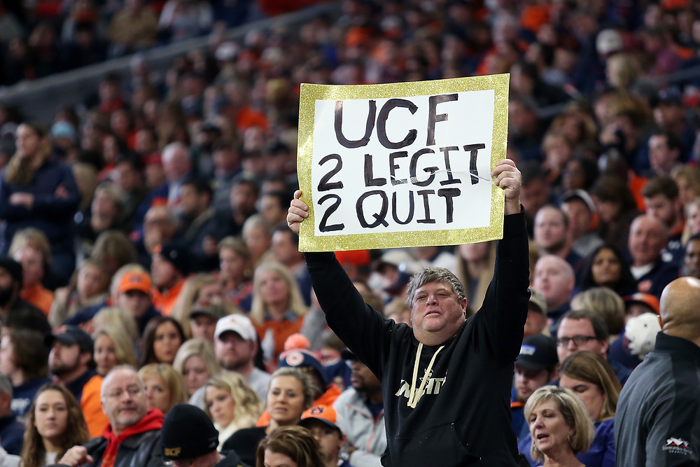 A fan of UCF Knights during the 2018 Chick-fil-A Peach Bowl NCAA football game against the UCF Knights on Monday, January 1, 2018 in Atlanta. (Jason Parkhurst / Abell Images for the Chick-fil-A Peach Bowl)