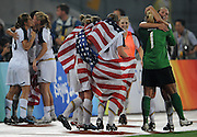 8/21/08 11:28:06 PM -- The 2008 Beijing Summer Olympics -- Beijing, China<br />  -- Team USA celebrates their win over Brazil in their Women's Soccer Gold Medal Game Thrusday August 21, 2008. -- <br /> <br /> <br /> Photo by Jeff Swinger, USA TODAY Staff