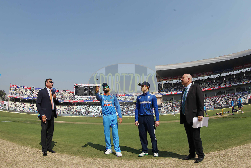 Virat Kohli Captain of India  and Eoin Morgan, Captain of England at the toss during the third One Day International (ODI) between India and England  held at Eden Gardens in Kolkata on the 22nd January 2017<br /> <br /> Photo by: Ron Gaunt/ BCCI/ SPORTZPICS