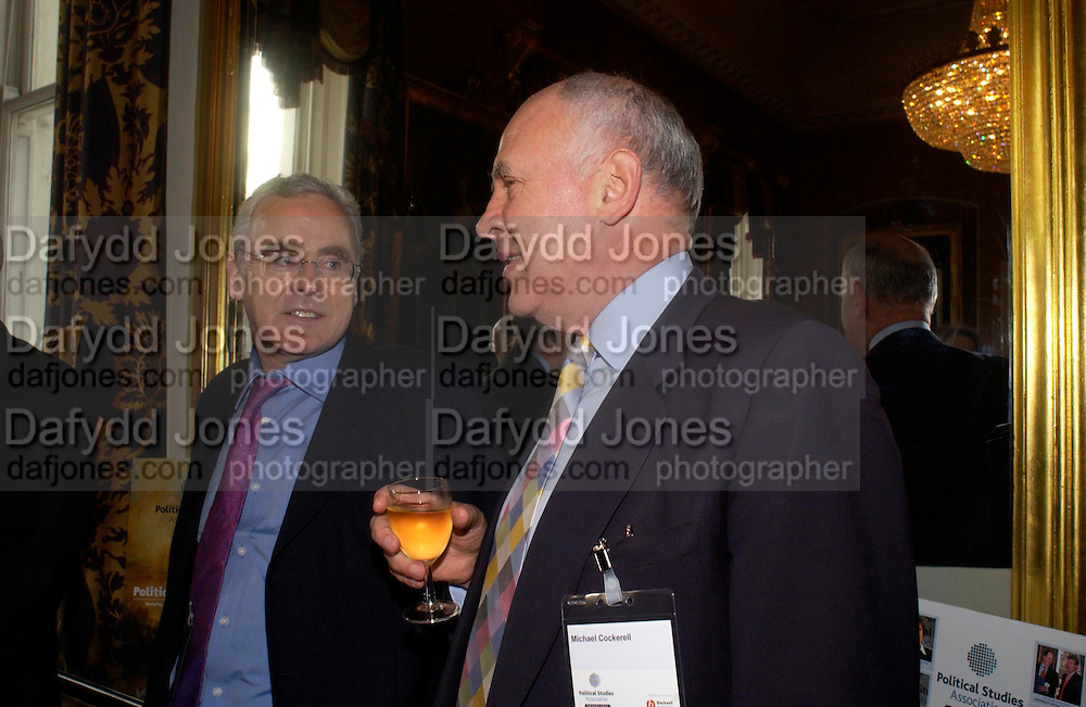 George Jones and Michael Cockerell, Political Studies Association Awards 2004. Institute of Directors, Pall Mall. London SW1. 30 November 2004.  ONE TIME USE ONLY - DO NOT ARCHIVE  © Copyright Photograph by Dafydd Jones 66 Stockwell Park Rd. London SW9 0DA Tel 020 7733 0108 www.dafjones.com