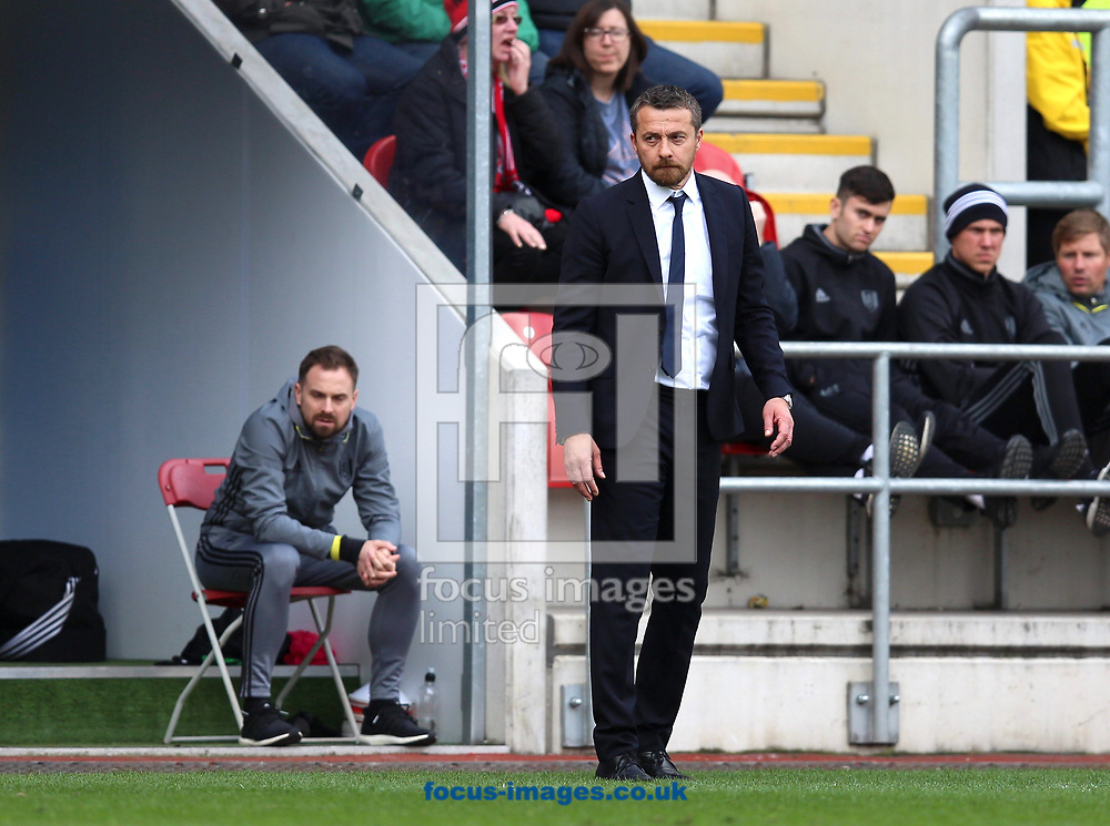 Slavisa Jokanovic of Fulham watches his team from the touchline during the Sky Bet Championship match at the New York Stadium, Rotherham<br /> Picture by James Wilson/Focus Images Ltd 07709 548263<br /> 01/04/2017