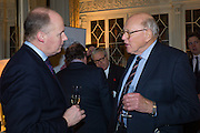 JONATHAN TWEEDIE; LORD SANDERSON, The Walter Scott Prize for Historical Fiction 2015 - The Duke of Buccleuch hosts party to for the shortlist announcement. <br /> The winner is announced at the Borders Book Festival in Scotland in June.John Murray's Historic Rooms, 50 Albemarle Street, London, 24 March 2015.