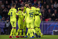 November 28, 2018 - Eindhoven, Netherlands - FC Barcelona players celebrate Gerard Pigue during the UEFA Champions League Group B match between PSV Eindhoven and FC Barcelona at Philips Stadium in Eindhoven, Netherlands on November 28, 2018  (Credit Image: © Andrew Surma/NurPhoto via ZUMA Press)