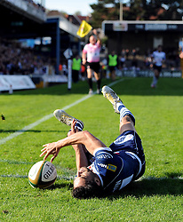 Bristol Rugby's Marco Mama scores a try, but his effort is disallowed as he is adjudged to have stepped in to touch - Photo mandatory by-line: Joe Meredith/JMP - Tel: Mobile: 07966 386802 06/10/2013 - SPORT - FOOTBALL - RUGBY UNION - Memorial Stadium - Bristol - Bristol Rugby V Bedford Blues - The Championship
