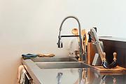 Architecture, detail modern kitchen, stainless steel sink
