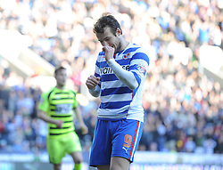dejected Reading's Adam Le Fondre after missing from the spot. - Photo mandatory by-line: Alex James/JMP - Tel: Mobile: 07966 386802 01/03/2014 - SPORT - FOOTBALL - Reading - Madejski Stadium - Reading v Yeovil Town - Sky Bet Championship