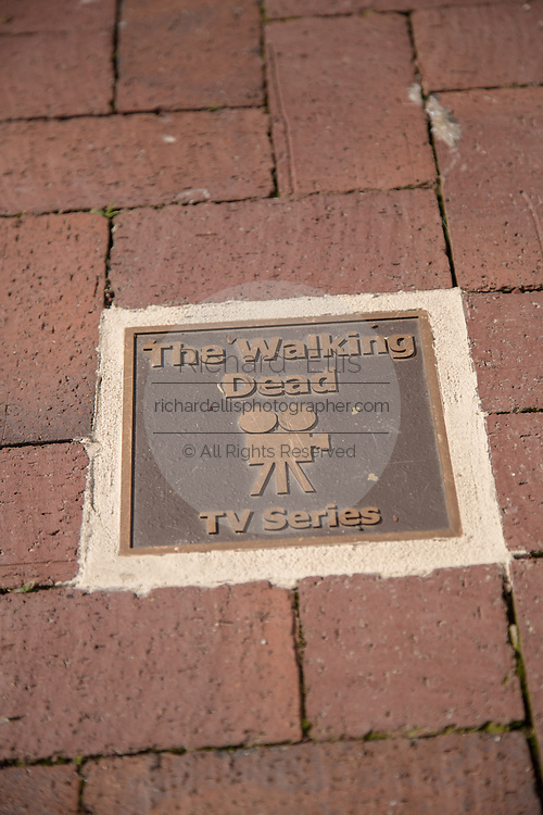 The Walking Dead plaque on the Walk of Fame May 8, 2013 in Senoia, Georgia. Senoia is considered the Hollywood of the South where 24 movies and shows have been filmed.
