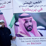 London, UK. 7th March 2018. Pro-Saudi supporters of  Saudi Prince visiting Downing Street
