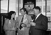 "Guinness Launch ""Guinness Light"".  (M79)..1979..26.06.1979..06.26.1979..26th June 1979..At the Guinness Theatre in St James Gate Brewery,Guinness launched ""Guinness Light"". With a spectacular show Guinness brought to the market a new lighter version of its world famous stout. it is hoped that it will fill a niche with younger drinkers frequenting Ireland's pubs and clubs..Marian Mollaghan, G G S I, Mr Feely,Area Manager,Galway and Fergus Hayden, Vice President ,Vitners Federation of Ireland were pictured at the launch of the Guinness Light."
