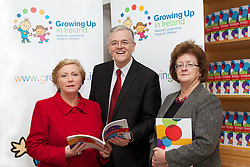 Growing Up in Ireland – Development from birth to three years.<br /> <br /><br />Date: Friday September 20th 2013, 11.00am<br />Location: ESRI, Whitaker Square, Sir John Rogerson's Quay, Dublin 2<br /><br />Pictured at the launch were (L-R)<br /> Ms. Frances Fitzgerald T.D., Minister for Children and Youth Affairs. <br /> <br /> James Williams, Growing Up in Ireland.<br /> Prof. Hannah McGee, Royal College of Surgeons. (RSCI)<br /><br /><br />Growing Up in Ireland (the national longitudinal study of children) today published a new report by James Williams, Aisling Murray, Cathal McCrory and Sinéad McNally, on how children in Ireland are faring at three years of age. The report is being launched by the Minister for Children and Youth Affairs, Ms. Frances Fitzgerald, TD at an event at the ESRI in Dublin.<br />Development from birth to three years investigates how three-year-olds in Ireland are doing in terms of their physical health and development; their socio-emotional /behavioural well-being and their cognitive development.  The report also examines how outcomes are affected by the home environment of the children, by their childcare arrangements (where this is relevant) and by their family's economic and financial situation.<br />The Growing Up in Ireland study, started in 2006, involves two cohorts of children: an infant cohort of 11,000 children recruited into the study at 9 months of age, and a child cohort of 8,500 children recruited at 9 years of age.<br /> <br />The study is wholly funded by Department of Children and Youth Affairs, in association with the Department of Social Protection and the Central Statistics Office. The younger children have been re-interviewed at 3 years and 5 years of age.  The older group was re-interviewed at 13 years of age.<br /> <br />In July this year the Minister for Children and Youth Affairs (Ms Frances Fitzgerald T.D.) announced that the Study would be extended for a further 5 years from 2015-2019.  The analyses from these 