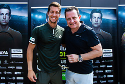 Aljaz Bedene Slovenian Tennis Player with Rado Mulej during ATP Press conference with Aljaz Bedene, on July 25th, 2019, in Ljubljansko kopalisce Kolezija, Ljubljana, Slovenia. Photo by Grega Valancic / Sportida