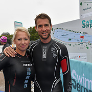 Gail Emms, Leon Taylor Swim Serpentine 2018, London, UK. 22 September 2018.