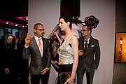 ROLF SNOEREN, ERIN O'CONNOR, VIKTOR HORSTING.  The private view of exhibition 'The House of Viktor & Rolf', at The Barbican Gallery.  London.  June 17 2008. *** Local Caption *** -DO NOT ARCHIVE-© Copyright Photograph by Dafydd Jones. 248 Clapham Rd. London SW9 0PZ. Tel 0207 820 0771. www.dafjones.com.