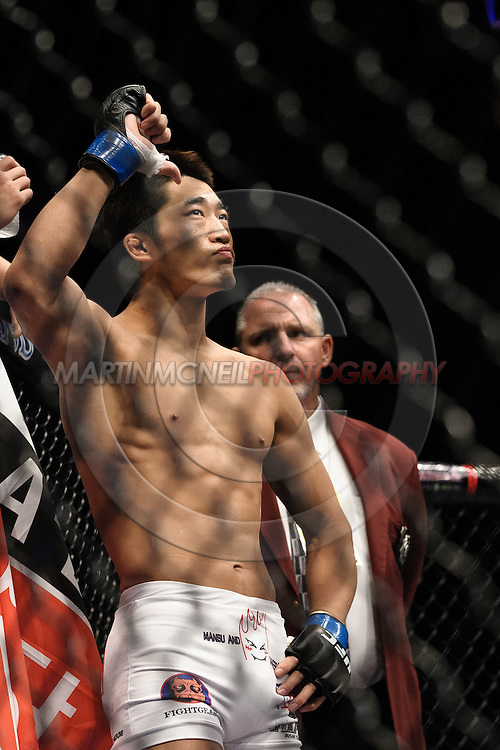"LAS VEGAS, NEVADA, MAY 24, 2008: Dong Hyun Kim stands ready in his corner during ""UFC 84: Ill Will"" inside the MGM Grand Garden Arena in Las Vegas"