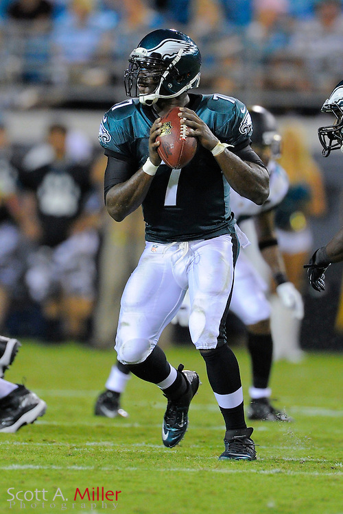 Philadelphia Eagles quarterback Michael Vick (7) during a preseason NFL game against the Jacksonville Jaguars at EverBank Field on Aug. 24, 2013 in Jacksonville, Florida. The Eagles won 31-24.<br /> <br /> &copy;2013 Scott A. Miller