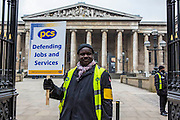 Leroy Lawrence on the British museum picket line. PCS Budget Day Strikes were held all over London, followed by a rally outside the House of Commons. 20th March 2013.