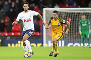 Mousa Dembele of Tottenham Hotspur (19) taking on Brighton and Hove Albion midfielder Beram Kayal (7) during the Premier League match between Tottenham Hotspur and Brighton and Hove Albion at Wembley Stadium, London, England on 13 December 2017. Photo by Matthew Redman.
