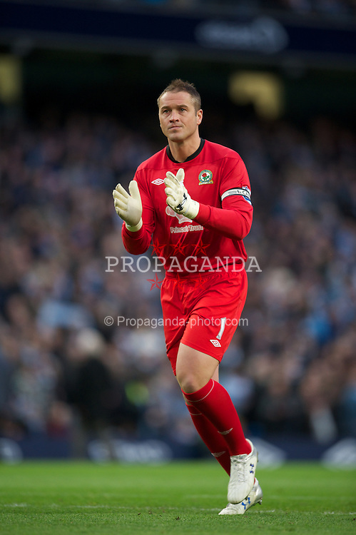 MANCHESTER, ENGLAND - Saturday, February 25, 2012: Blackburn Rovers' goalkeeper Paul Robinson in action against Manchester City during the Premiership match at City of Manchester Stadium. (Pic by David Rawcliffe/Propaganda)