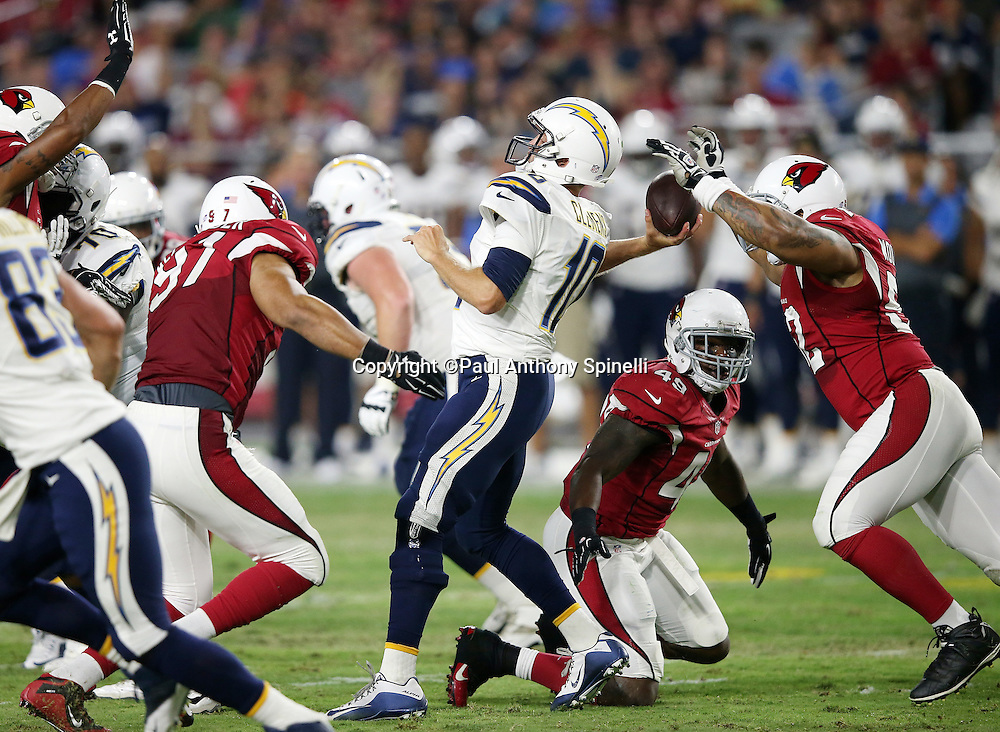 San Diego Chargers quarterback ` (52) in the second quarter during the 2015 NFL preseason football game against the Arizona Cardinals on Saturday, Aug. 22, 2015 in Glendale, Ariz. The Chargers won the game 22-19. (©Paul Anthony Spinelli)