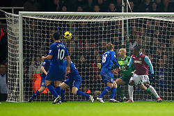 LONDON, ENGLAND - Tuesday, December 28, 2010: Everton's Tony Hibbert deflects the ball into his own net scoring an own goal to gift West Ham United the opening goal during the Premiership match at Upton Park. (Pic by: David Rawcliffe/Propaganda)