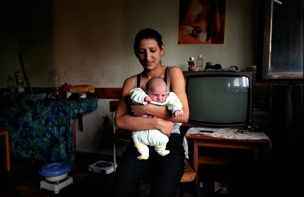 Marko is nearly 2 months old and Hotel Lokves youngest resident and his mother Shurtas pride. Shurta is married to another refugee, they met in the hotel. ..Hotel Lokve, a mountain ski hotel in Montenegro became the home of a diverse group of 60 refugees after the Kosovo refugee crisis.