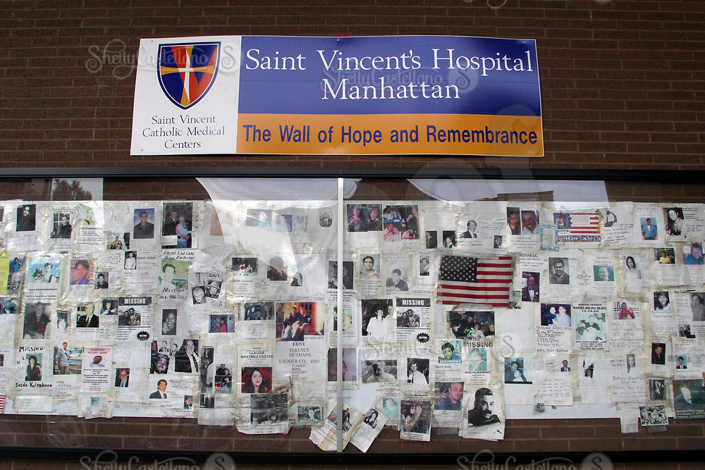 Aug 16, 2002; New York, NY, USA; The Wall of Hope and Rememberance hangs outside Saint Vincent's Hospital in midtown Manhattan.  Flyers for those missing men and women from September 11, 2001 are posted outside the hospital to be viewed by the public.  Mandatory Credit: Photo by Shelly Castellano/ZUMA Press. (©) Copyright 2002 by Shelly Castellano