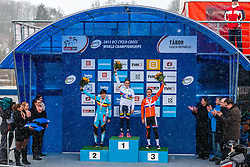 Podium: 1st Pauline Ferrand Prevot (FRA), 2nd Sanne Cant (BEL) & 3rd Marianne Vos (NED), Women Elite, Cyclo-cross World Championships Tabor, Czech Republic, 31 January 2015, Photo by Pim Nijland / PelotonPhotos.com