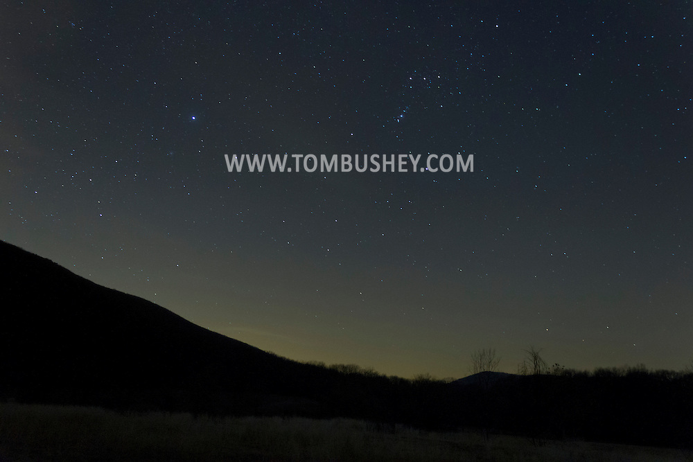 Salisbury Mills, New York - Stars in the night sky above Schunnemunk Mountain on Dec. 14, 2012.
