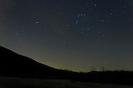 Salisbury Mills, New York - Stars in the night sky above Schunnemunk Mountain on Dec. 14, 2012.