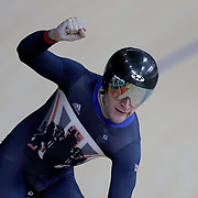 Track Cycling - Olympics: Day 8  Callum Skinner #103 of Great Britain celebrates after defeating Matthew Glaetzer #72 of Australia in the Men's Sprint Semifinals during the track cycling competition at the Rio Olympic Velodrome August 12, 2016 in Rio de Janeiro, Brazil. (Photo by Tim Clayton/Corbis via Getty Images)