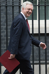Downing Street, London, January 10th 2017. Secretary of State for Exiting the European Union David Davis leaves the weekly UK cabinet meeting at 10 Downing Street as the new Parliamentary term begins.