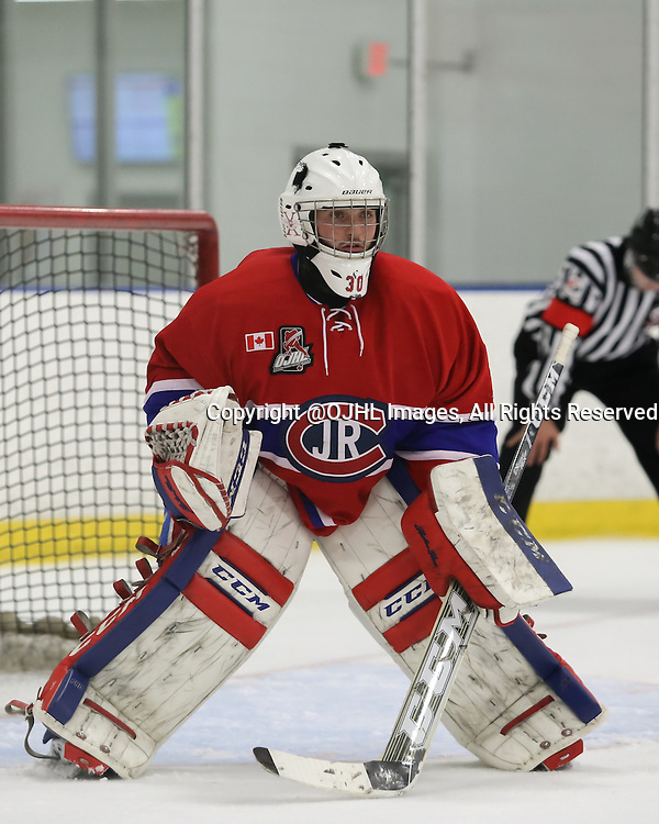 TORONTO, ON - Oct 4, 2015 : Ontario Junior Hockey League game action between St. Michael's and Toronto.<br /> Goaltender, Daniel Lopapa #30 of the Toronto Jr Canadiens during the third period.<br /> (Photo by Anna Matthews / OJHL Images)